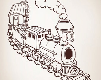 Vinyl Wall Decal Sticker Illustrated Train OSAA217m