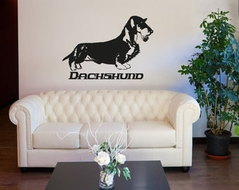 Vinyl Wall Decal Sticker Long Haired Dachshund OSAA623s