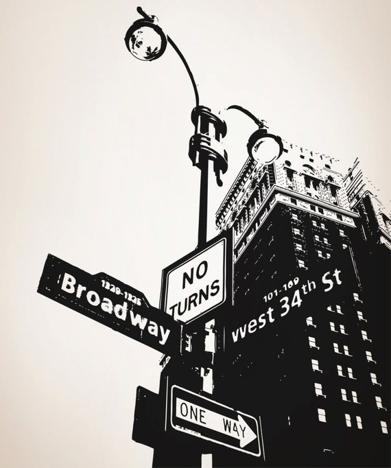 Vinyl wall decal sticker corner of nyc broadway osaa559s for Broadway wall mural