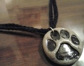 Polymer Clay Stamped Puppy Paw Print Pendant/Necklace