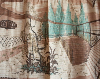 Vintage 1940s / 1950s RETRO Porch Scene Barkcloth Curtain Panel