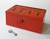RESERVED -- Vintage Red Metal Coin or Ballot Storage Box