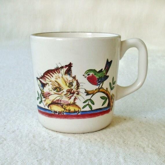Vintage Norway Stavangerflint Cup Mug Pottery Cat and Dog