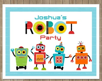 Custom Robot Party Printable Party Sign
