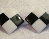 Vintage 80s Black and White Square Clip Earrings
