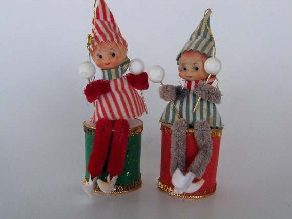 Vintage Christmas-Sweet Old Pixie Knee Hugger Elfs-Ornaments-Drums