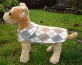 Custom Order for Steve-Gray Tan and White Argyle Fleece and White and Black Tartan Dog Coats- Size Small