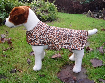 Dog Jacket - Leopard Raincoat - Size Small 12-14 Inch Back Length