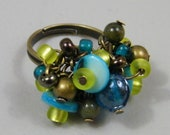 OUT OF TOWN - Cool Blue Jumble - Blue Lime Green Teal Turquoise Bronze Beaded Cluster Adjustable Ring - Colorful Fun Cocktail Bauble Ring