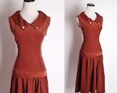 Vintage 1940s Corduroy  Brick Brown Autumn Dress Drop Waist / 1940s Dress / Dress / Dresses / Vintage Dress / Fall Fashion / Rustic / 1326