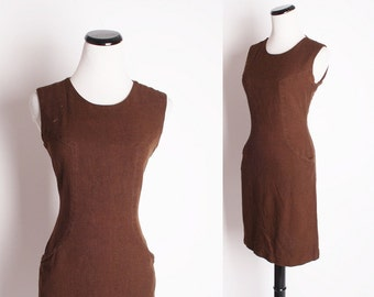 Vintage 1960s  Chocolate Brown Fall Cotton Short Dress / Vintage Dress / Dress / Dresses / Chocolate Brown / Mod Dress / 1324