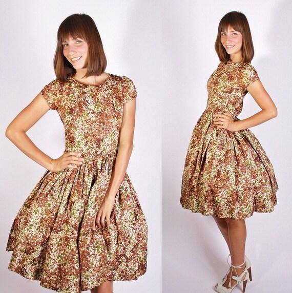 Vintage 1950s Mad Men Cocktail Dress / Vintage Dress / Dress / Dresses / Fall Fashion / Rustic Brown /  Autumn Woodland / 1250