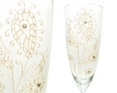 Spring Wedding Champagne Flutes, White Paisley, Mod Wedding, Toasting Flutes