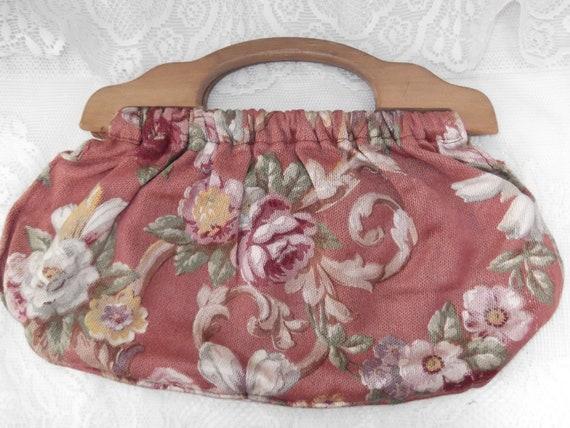 Vintage 1930s Purse Clutch Handbag Knitting Yarn Tote Floral Barkcloth Wood Handles
