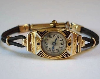 18K Gold Watch Art Deco 18k Solid Gold Ladies Watch Enamel