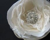 Bridal flower Hair clip Ivory Beige flower Sand organza lace swarovski rhinestone Fascinator wedding hair accessory 3 inch hairpiece