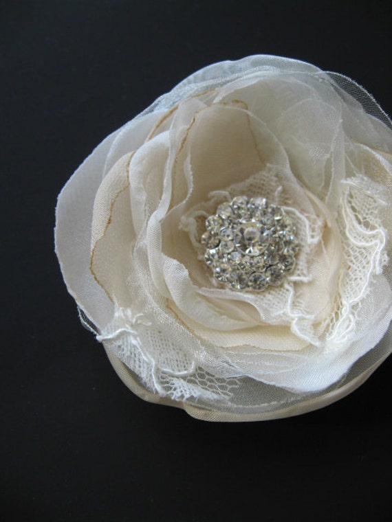 Bridal flower Hair clip Ivory Beige flower Sand organza lace swarovski rhinestone Fascinator wedding hair accessory 3 inch hairpiece
