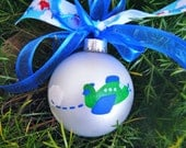 Airplane Ornament - Hand Painted Personalized (free) Christmas Ornament, Airplane Baby Room Decor, Aviation Gift, Baby's First Christmas