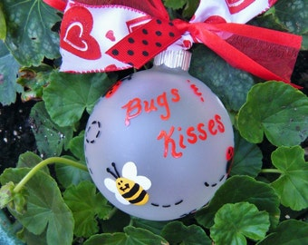 Ladybug and Bumble Bee Ornament - Personalized Birthday or Christmas Hand Painted Glass Ball, Ladybug Birthday, Baby's Birth,New Baby Gift