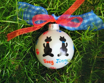 Cat Ornament - Personalized BFF Cats - Hand Painted Christmas Ornament - Two Kitty Cats, Pet Lover, Cat Lover, Best Friends, Wedding Couple
