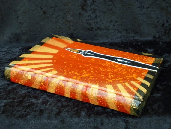 """Painted Leather Journal, """"The Neglected Pen"""" Art by Jon Young, book by Lindsey Julow OOAK"""