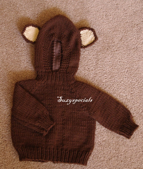 Brown Teddy Bear  Knitted Baby Sweater with Hood and Back Zipper
