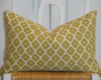 Schumacher - Ziggurat in Chartreuse - Decorative Pillow Cover -  Accent Pillow - Throw Pillow - Geometric - Lattice