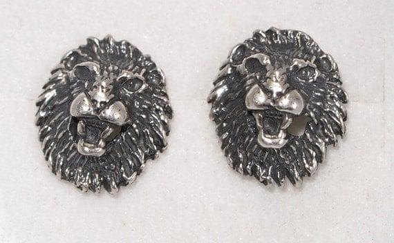 Lion Head Stud Earrings in Sterling Silver