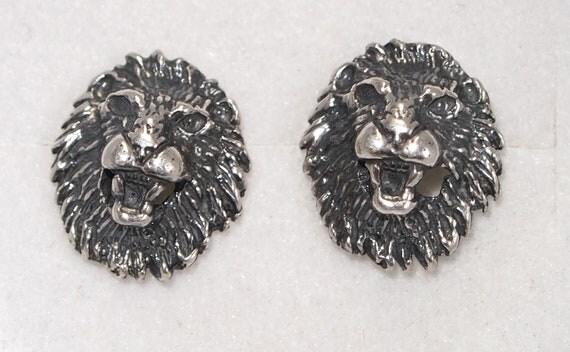 Lion Head Stud Earrings made in gold