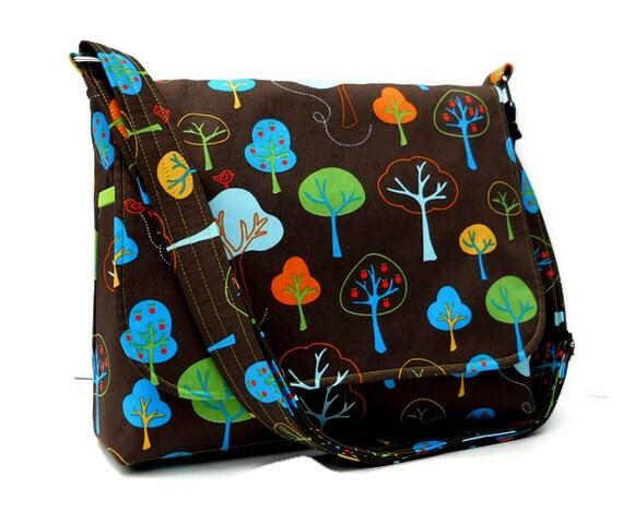 Women's Fabric Messenger Purse - Trees on Brown - Fall Bag, Autumn Purse