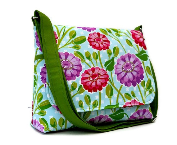 Floral Messenger Bag / Ladies Shoulderbag - Michael Miller Zinnias in Pink and Purple on Blue