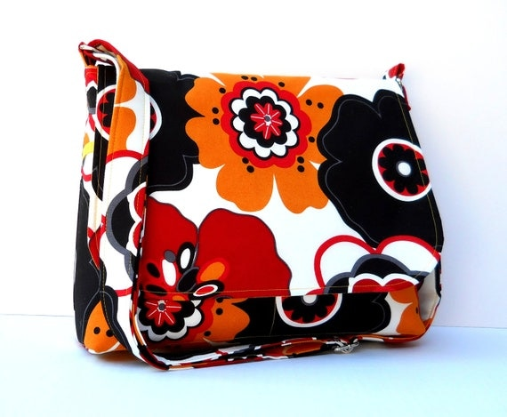 Messenger Bag Cross Body Purse - Large Flowers in Mustard Yellow and Burnt Red, Long Adjustable Strap, Medium Size
