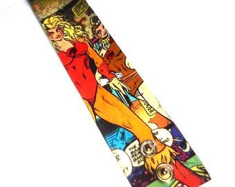 Thundercats Cheetara & Pumyra - hand-painted canvas comic book style cuff