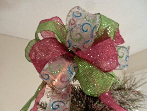 Large Christmas Tree Topper Bow Pink LimeGreen And White