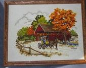 Vintage Crewel Autumn Picture