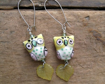 Cute Owl Dangle Earrings, pastel statement earrings in yellow, pink, green, and white, adorable animal jewelry