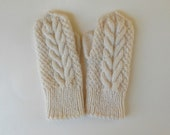 Ivory wool handknitted mittens bridesmaid favor for winter wedding cabled off white mittens - chiffonart
