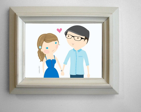 2-Person Custom Cartoon Portrait
