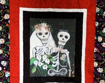 Day of the Dead Wedding Quilt King Size  Till Death Do Us Part or Not.....Custom Order for Paula