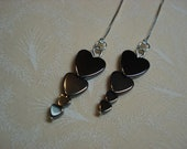 Hematite Heart Towers on Sterling Ear Threads-FREE SHIPPING To U.S.- Threader Earrings