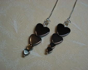 Hematite Heart Towers on Sterling Ear Threads-Threader Earrings/Necklace-FREE SHIPPING To U.S.-