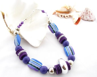 Upcycled Chunky Purple Necklace
