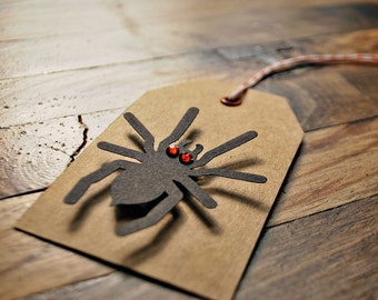 Halloween gift tags Spider tags Spider Halloween gift tags Kraft halloween tags by oscar & ollie