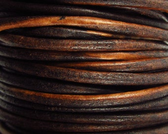 2 Yards - 2mm Distressed Brown Leather Cord