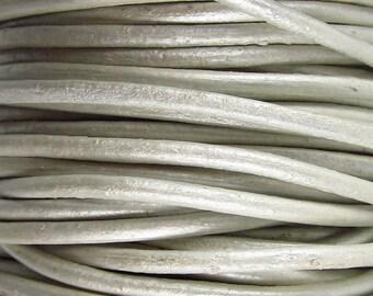 2 Yards - 2mm Metallic Silver Leather Cord