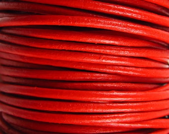 2 Yards - 2mm Red Leather Cord