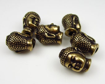 6 Brass Oxide Tierracast Buddha head beads