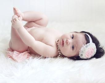 Pink Headband, baby headband with lace, Newborn headband