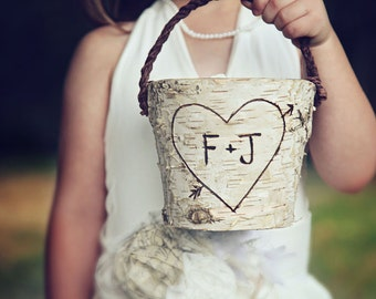 Personalized Rustic  Birch Flower Girl Basket Wedding Woodland Cottage Chic
