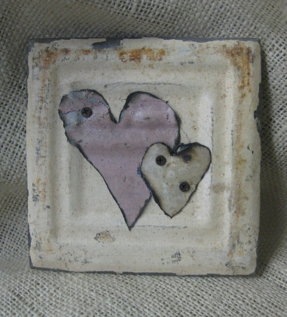 Small Vintage Ceiling Tile with Two  Hearts -Wedding, Birthday, Anniversary, Valentine Gift
